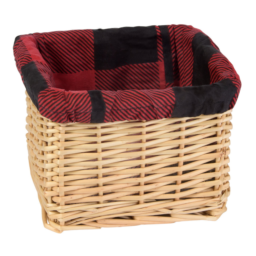 Natural Basket with Red & Black Buffalo Check Liner