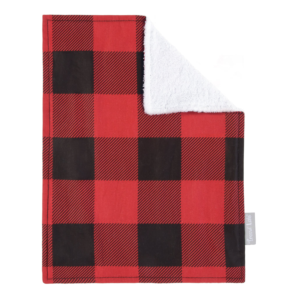 Red & Black Buffalo Check Burp Cloth