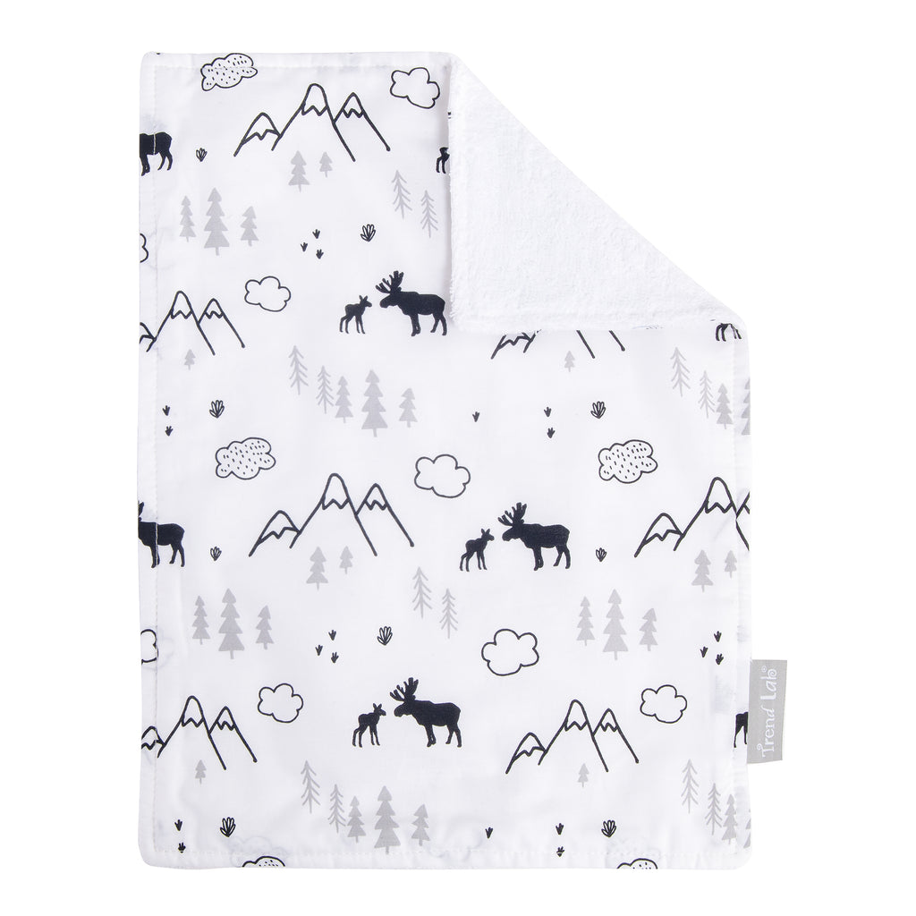 Moose & Mountains White Burp Cloth
