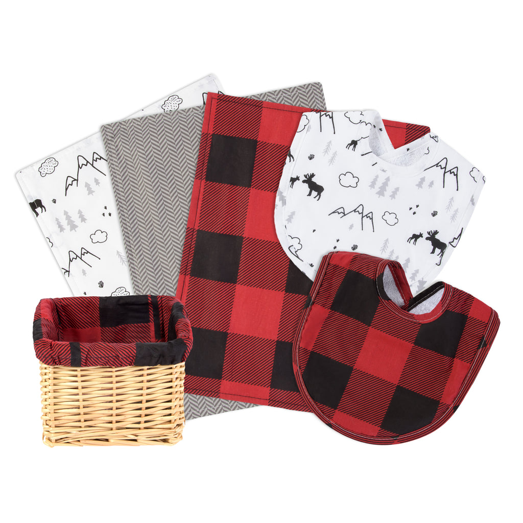 Lumberjack Moose 7 Piece Gift Basket with Items Displayed Out