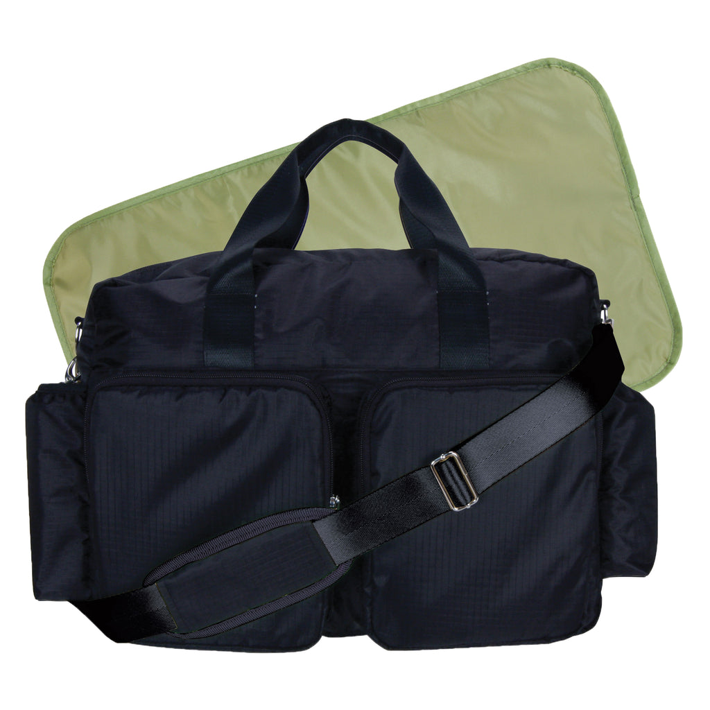Black and Avocado Green Deluxe Duffle Style Diaper Bag Trend Lab, LLC
