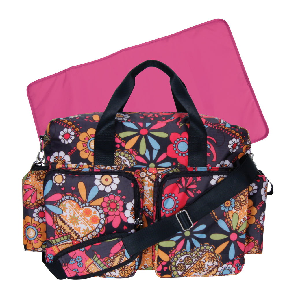 Bohemian Floral Deluxe Duffle Style Diaper Bag Trend Lab, LLC