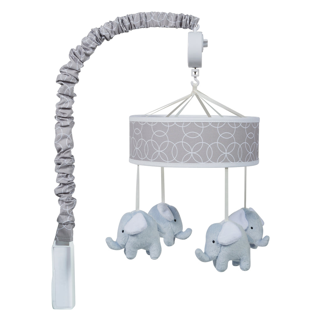 Gray and White Circles Musical Crib Mobile