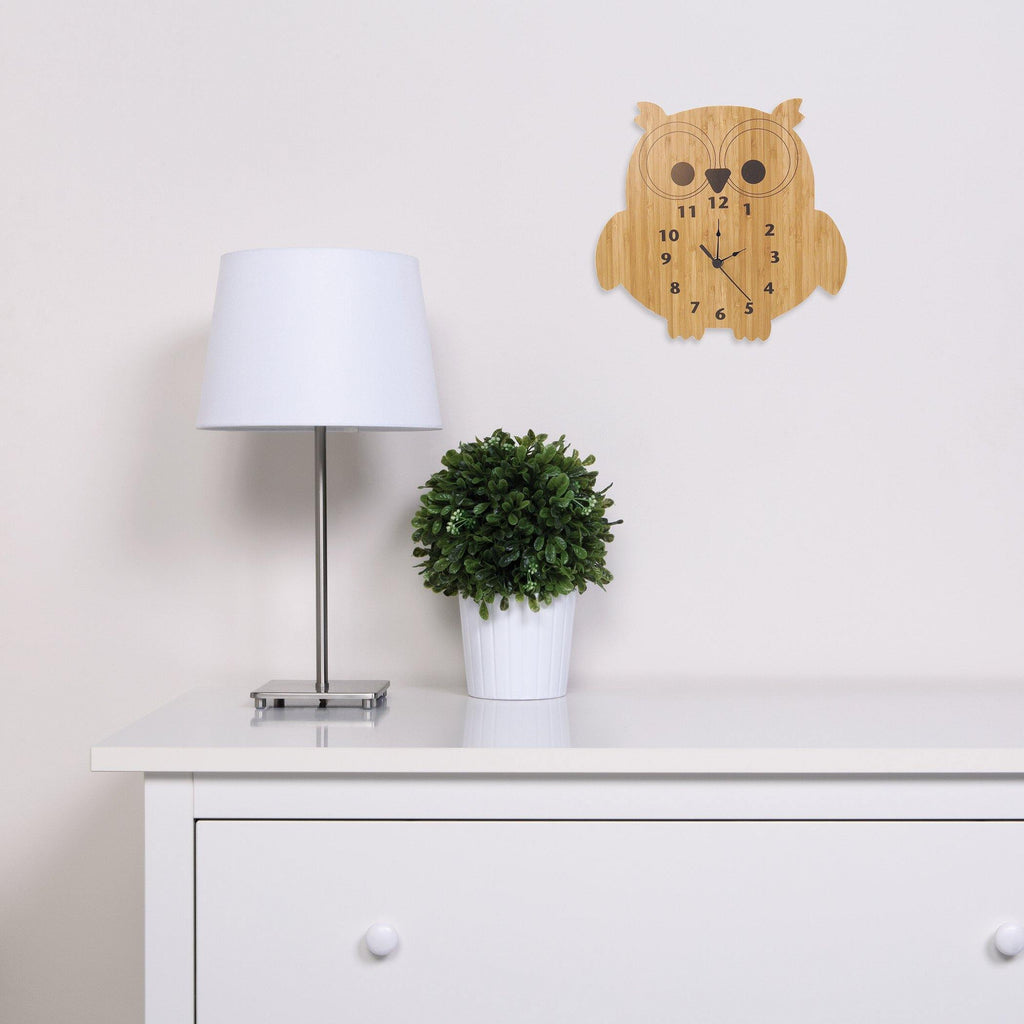 Bamboo-Owl Wall Clock