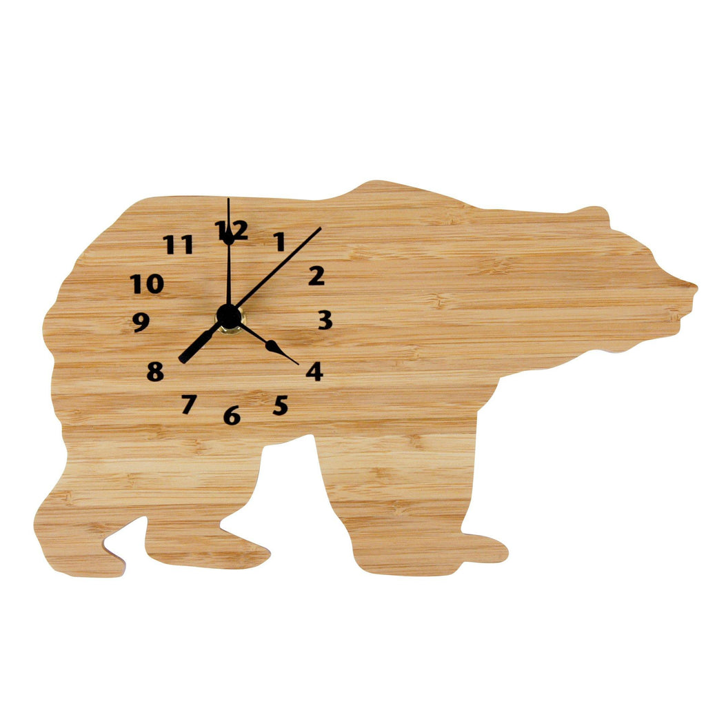 Bamboo-Northwoods Bear Wall Clock Trend Lab, LLC