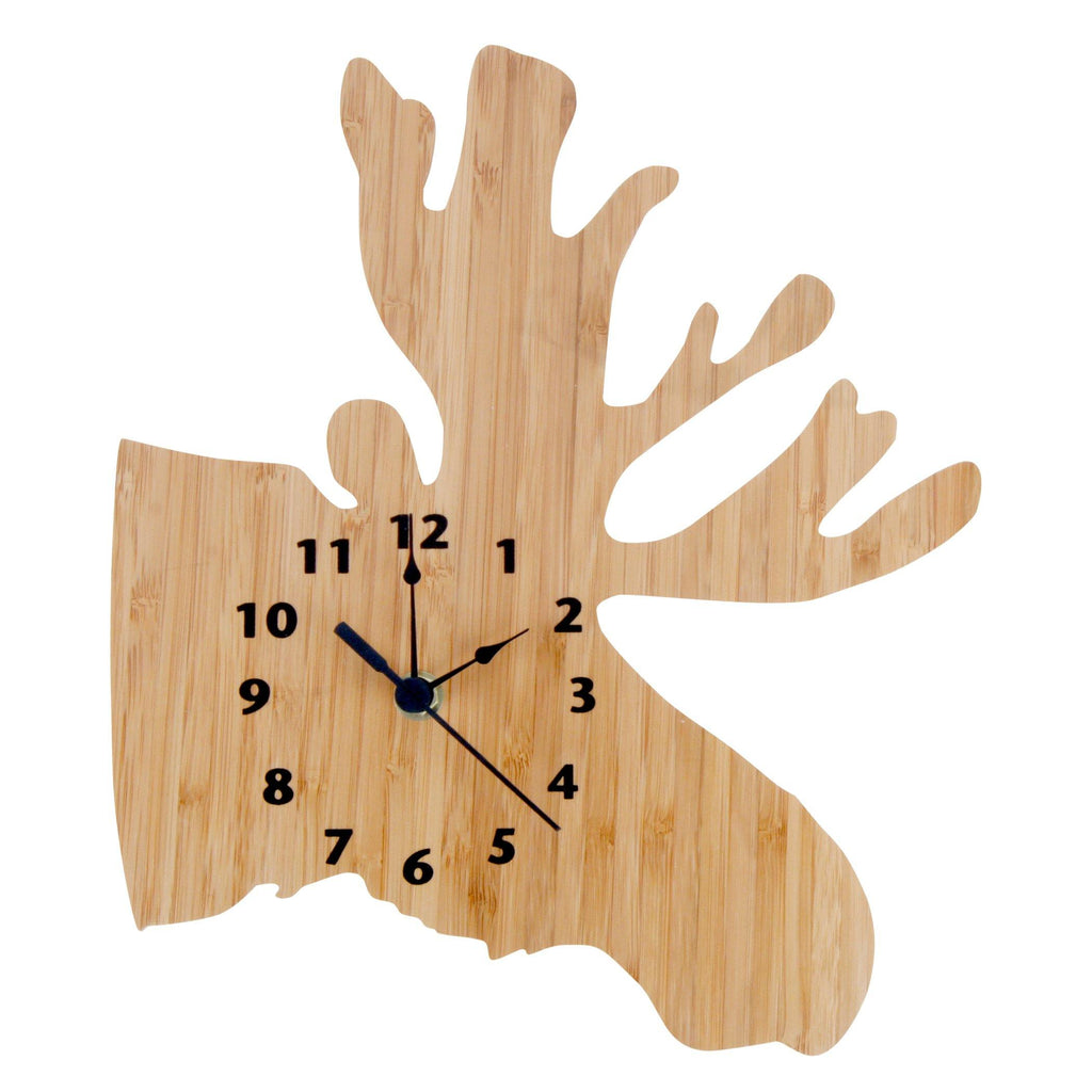Bamboo-Northwoods Moose Wall Clock Trend Lab, LLC