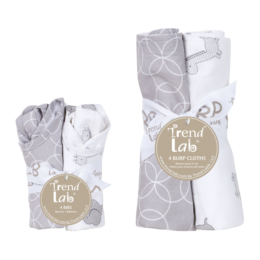 Gray and White Circles 4 Pack Bib and 4 Pack Burp Cloth Set20873$29.99Trend Lab