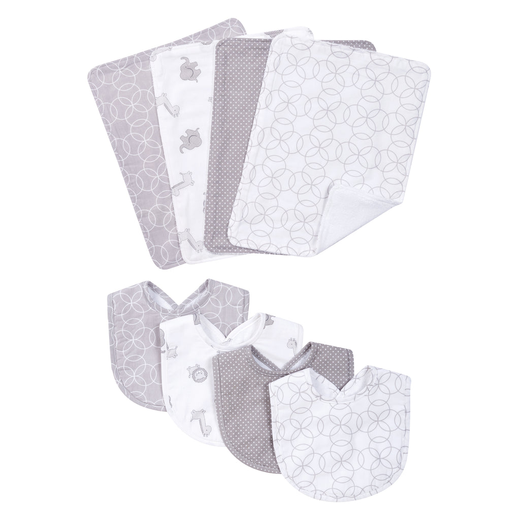 Gray and White Circles 4 Pack Bib and 4 Pack Burp Cloth Set Trend Lab, LLC