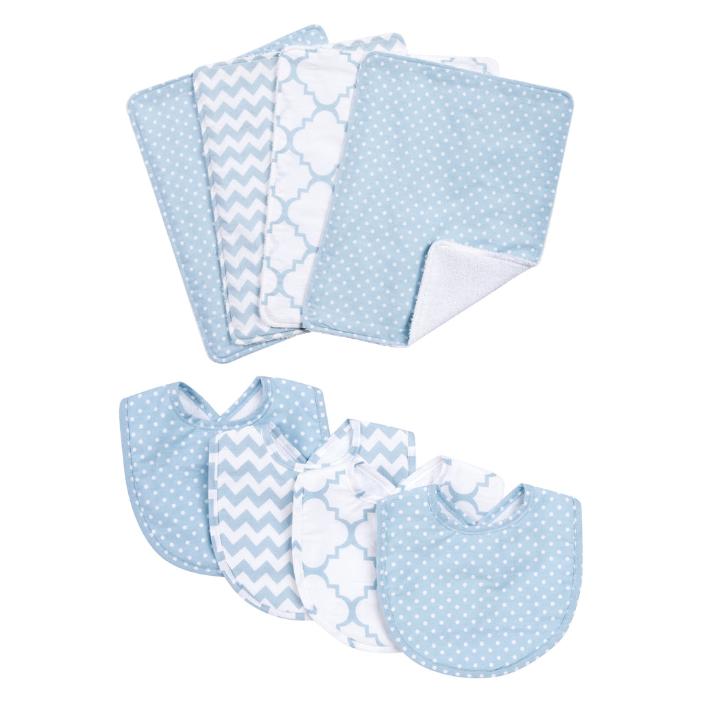 Blue Sky 4 Pack Bib and 4 Pack Burp Cloth Set20876$29.99Trend Lab