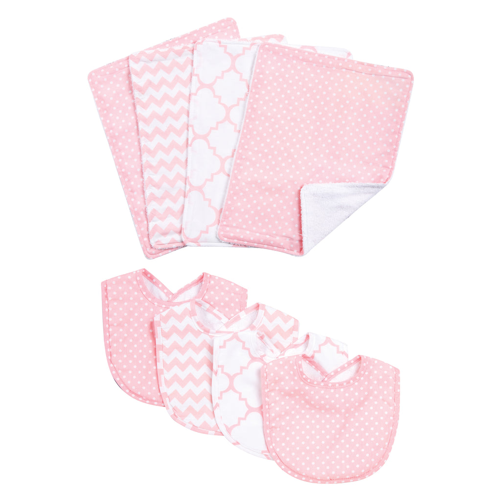 Pink Sky 4 Pack Bib and 4 Pack Burp Cloth Set Trend Lab, LLC