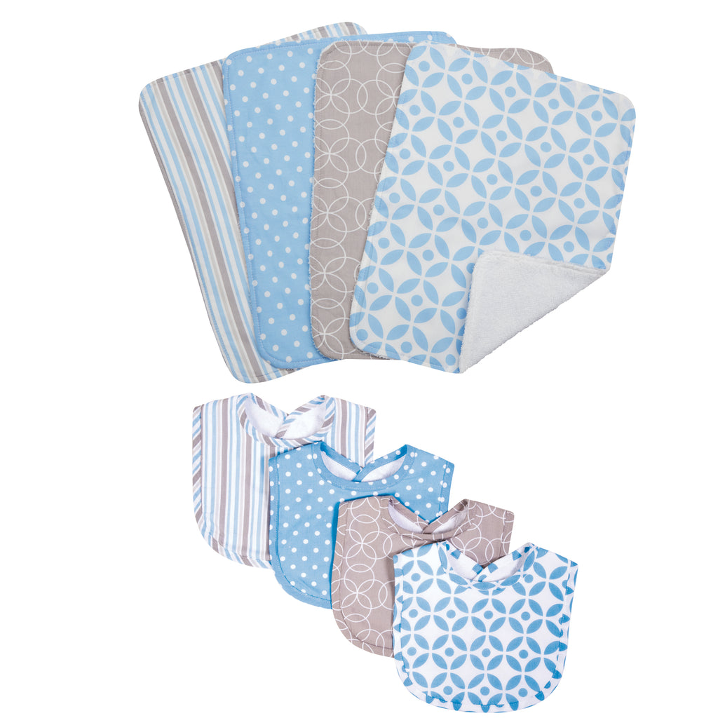 Logan 4 Pack Bib and 4 Pack Burp Cloth Set Trend Lab, LLC