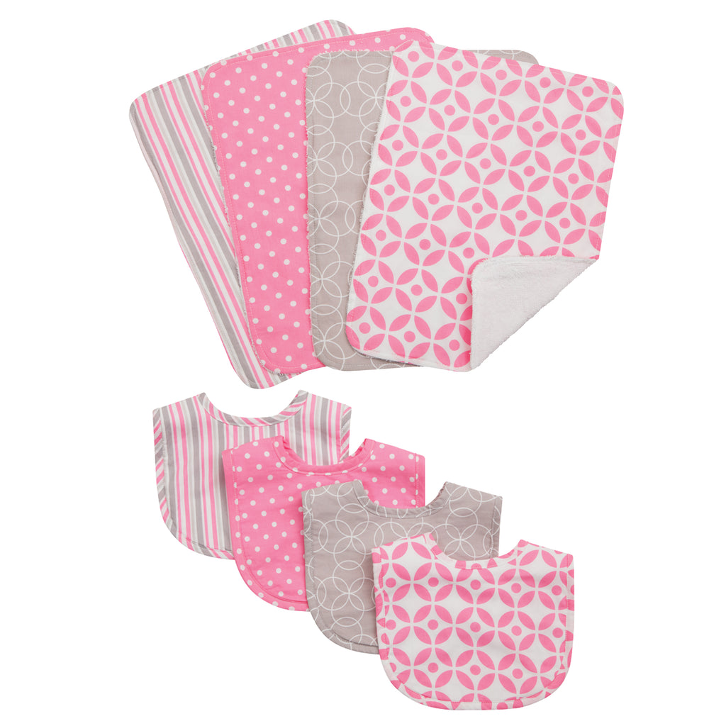 Lily 4 Pack Bib and 4 Pack Burp Cloth Set Trend Lab, LLC