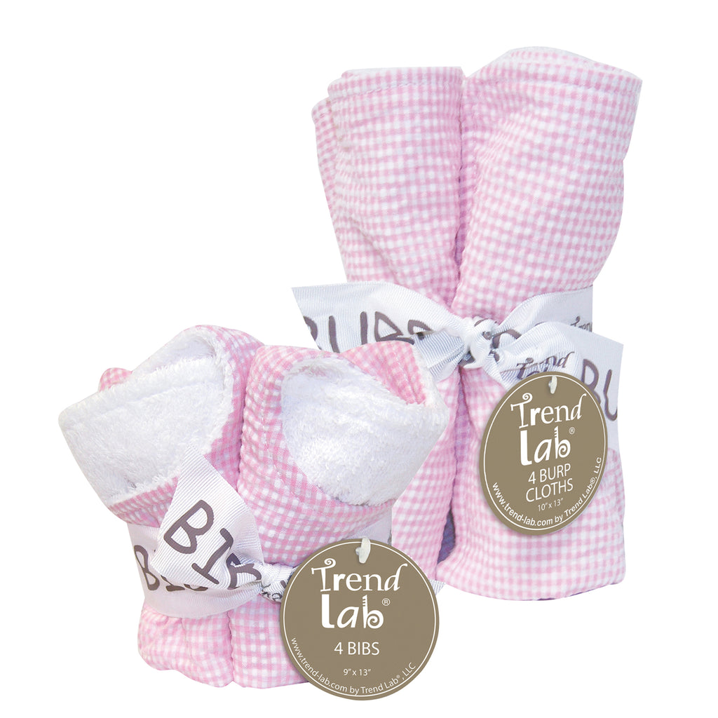 Gingham Seersucker Pink 4 Pack Bib and 4 Pack Burp Cloth Set Trend Lab, LLC