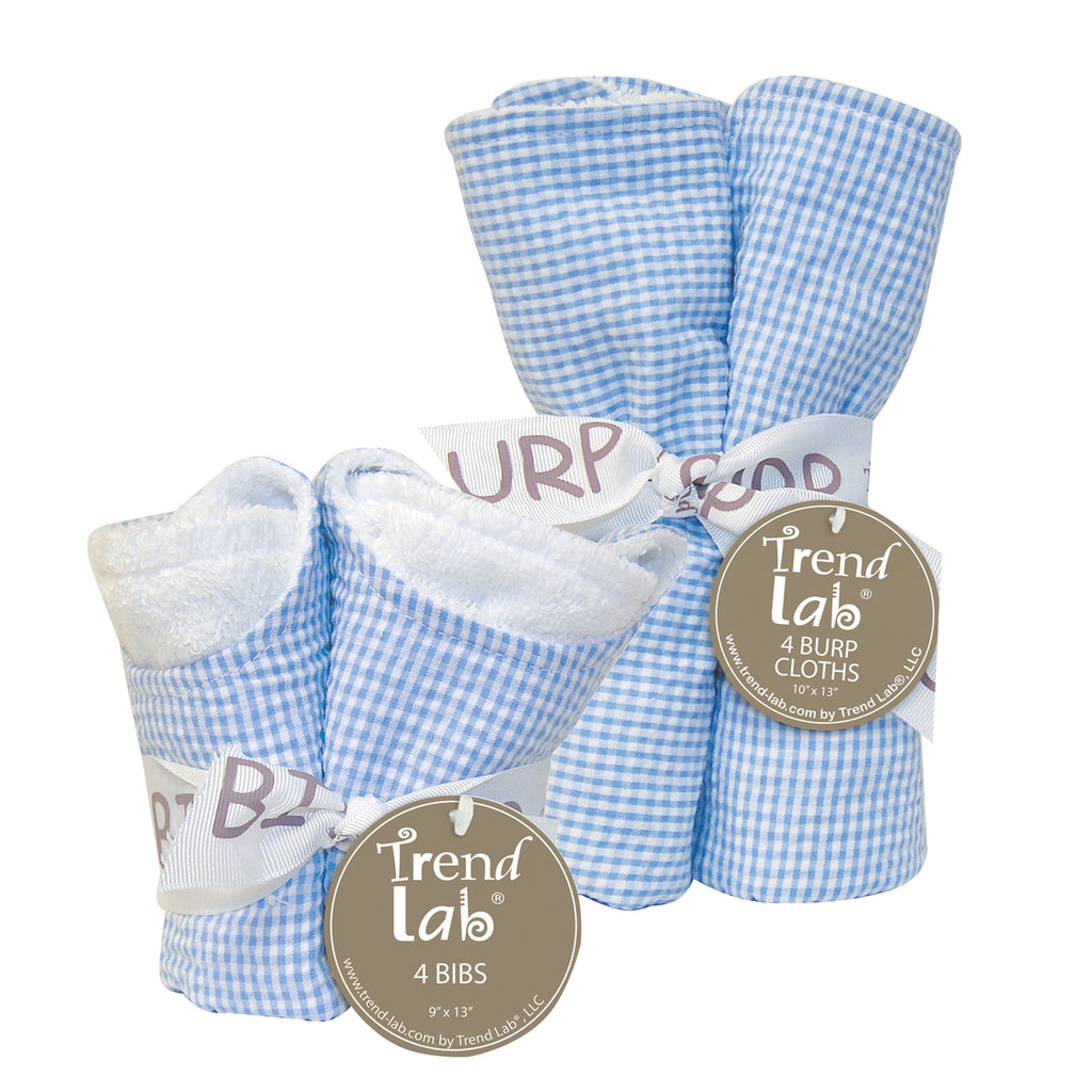 Gingham Seersucker Blue 4 Pack Bib and 4 Pack Burp Cloth Set