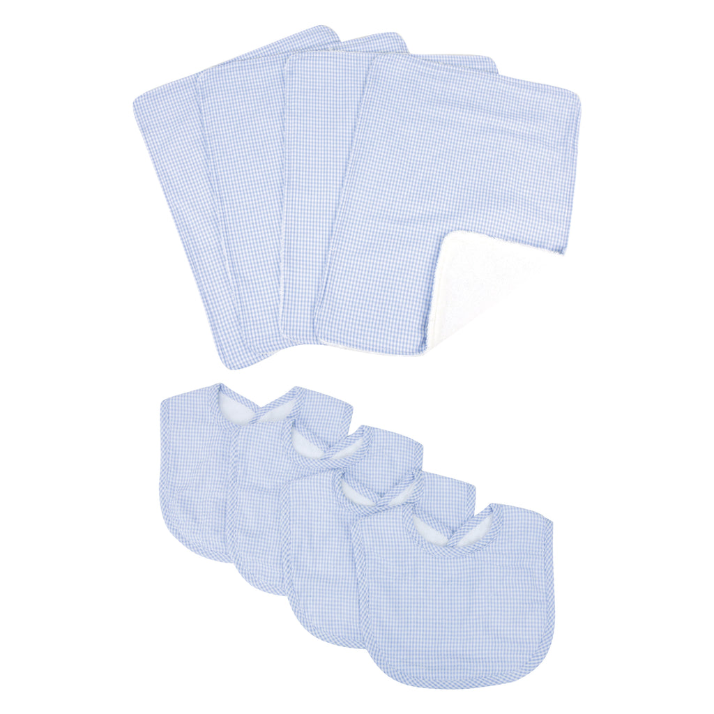 Gingham Seersucker Blue 4 Pack Bib and 4 Pack Burp Cloth Set20935$29.99Trend Lab