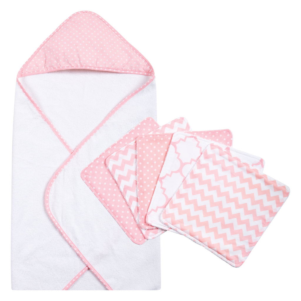 Pink Sky Dot Hooded Towel and 5 Pack Wash Cloth Set Trend Lab, LLC