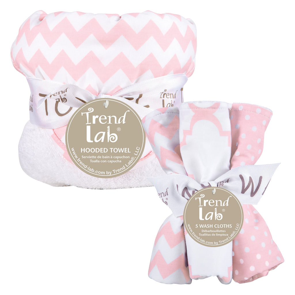 Pink Sky Chevron Hooded Towel and 5 Pack Wash Cloth Set Trend Lab, LLC
