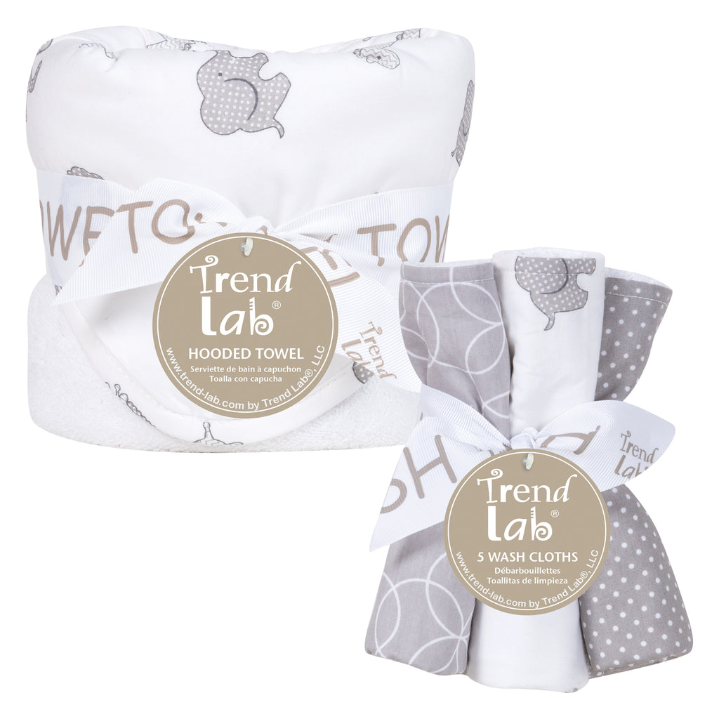 Safari Chevron Hooded Towel and 5 Pack Wash Cloth Set Trend Lab, LLC