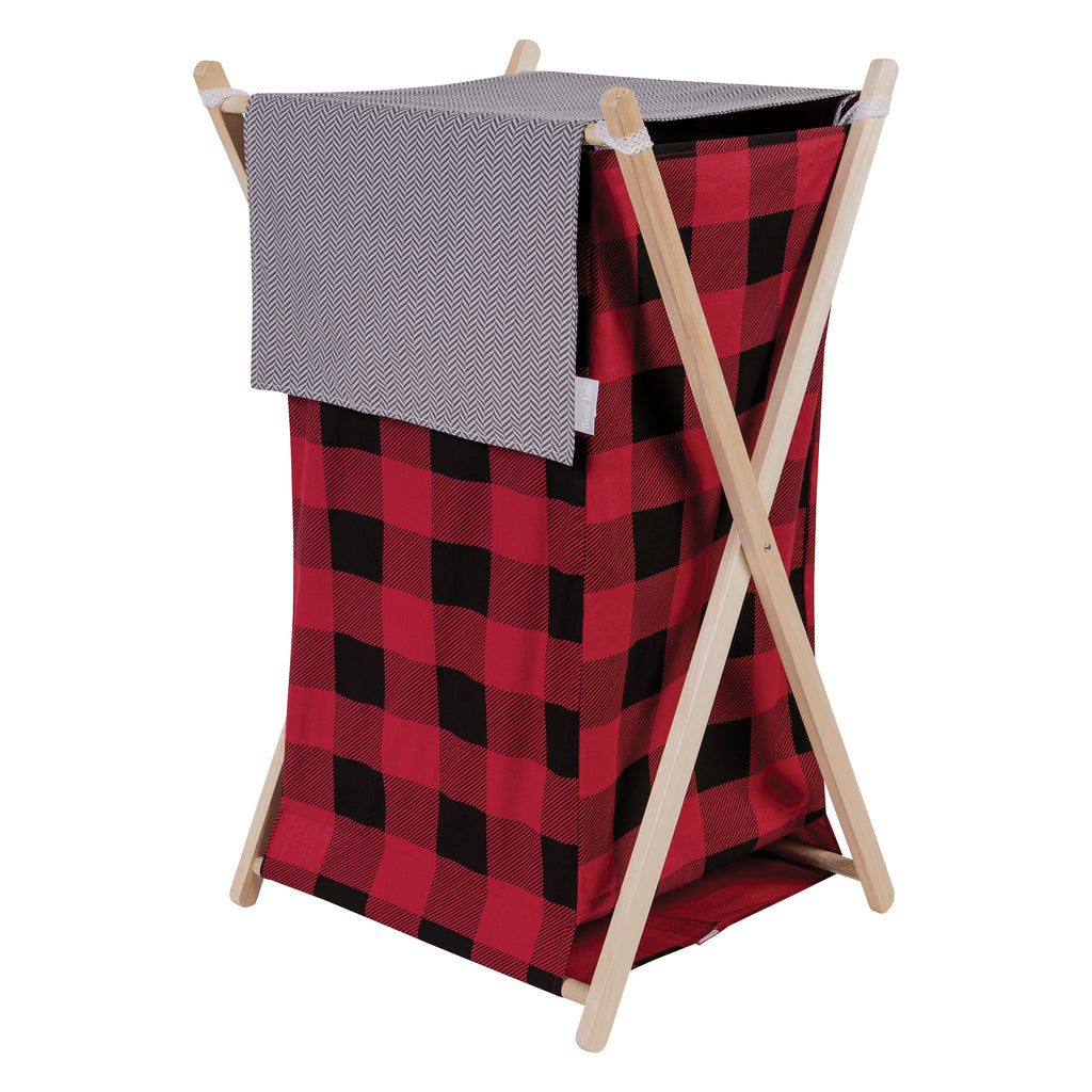 Red and Black Buffalo Check Hamper Set