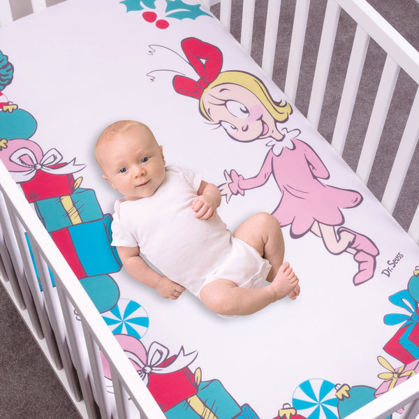 Dr Seuss Cindy Lou Who Flannel Photo Op Fitted Crib