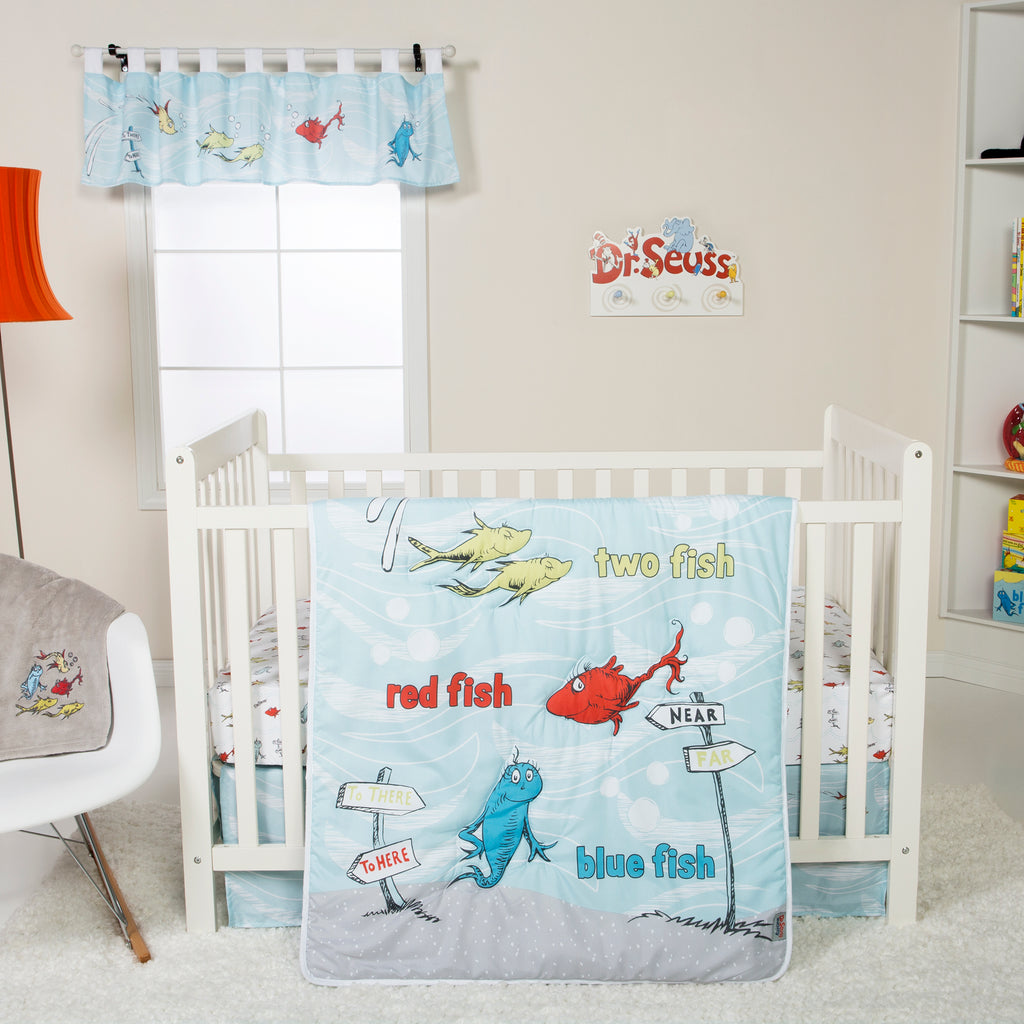 Dr. Seuss™ One Fish Two Fish 4 Piece Crib Bedding Set Trend Lab, LLC