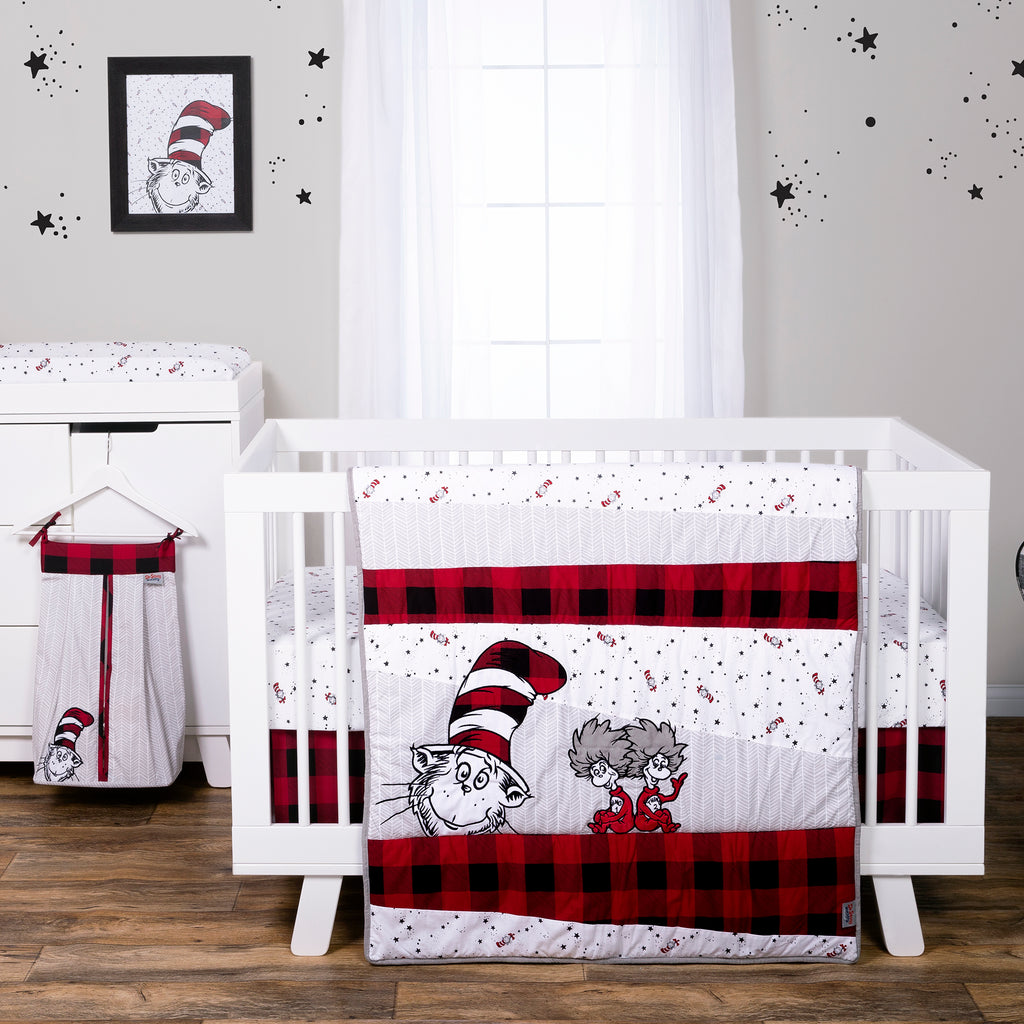 Dr. Seuss™ Lumberjack Cat in the Hat 5 Piece Crib Bedding Set Trend Lab, LLC