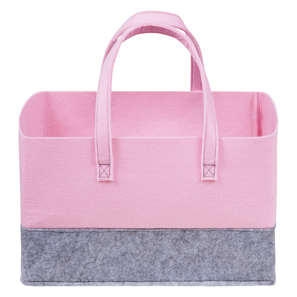 Ice Pink and Light Gray Felt Essential Storage Tote Trend Lab, LLC