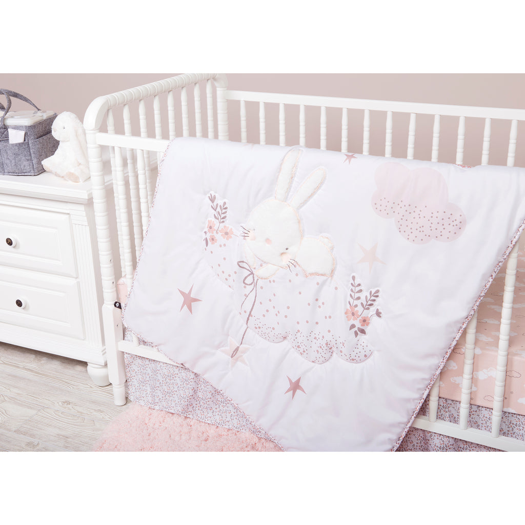 Sammy and Lou Cottontail Cloud 4 Piece Crib Bedding Set