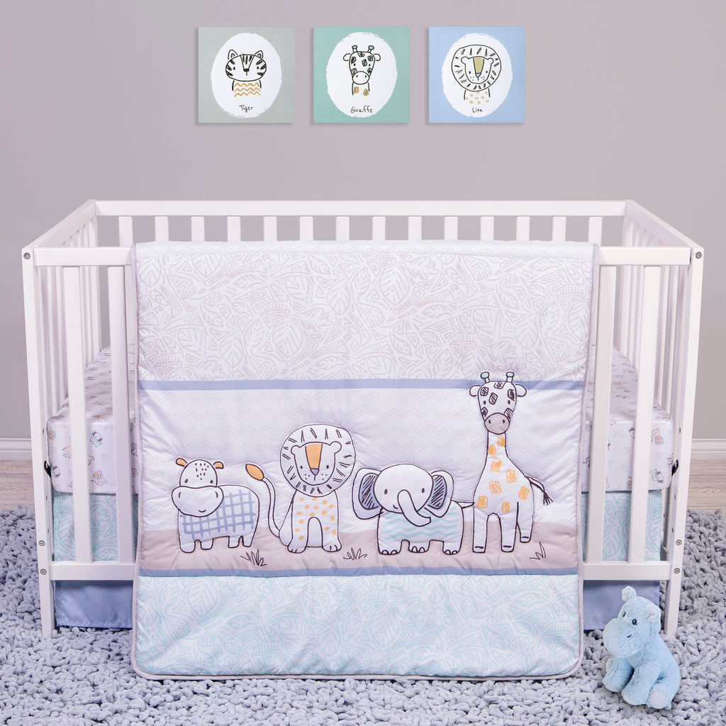 Sammy and Lou Safari Yearbook 4 Piece Crib Bedding Set Trend Lab, LLC