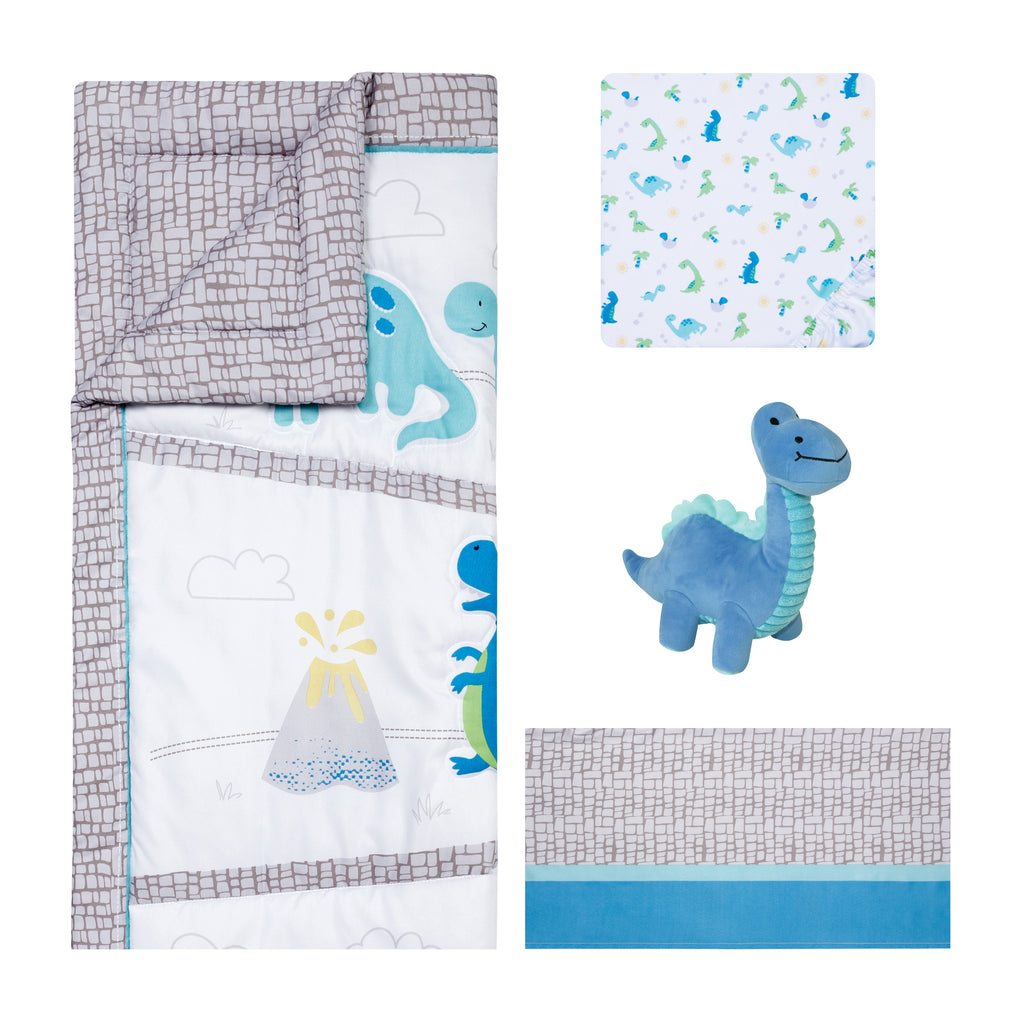 Sammy and Lou Dinosaur Pals 4 Piece Crib Bedding Set