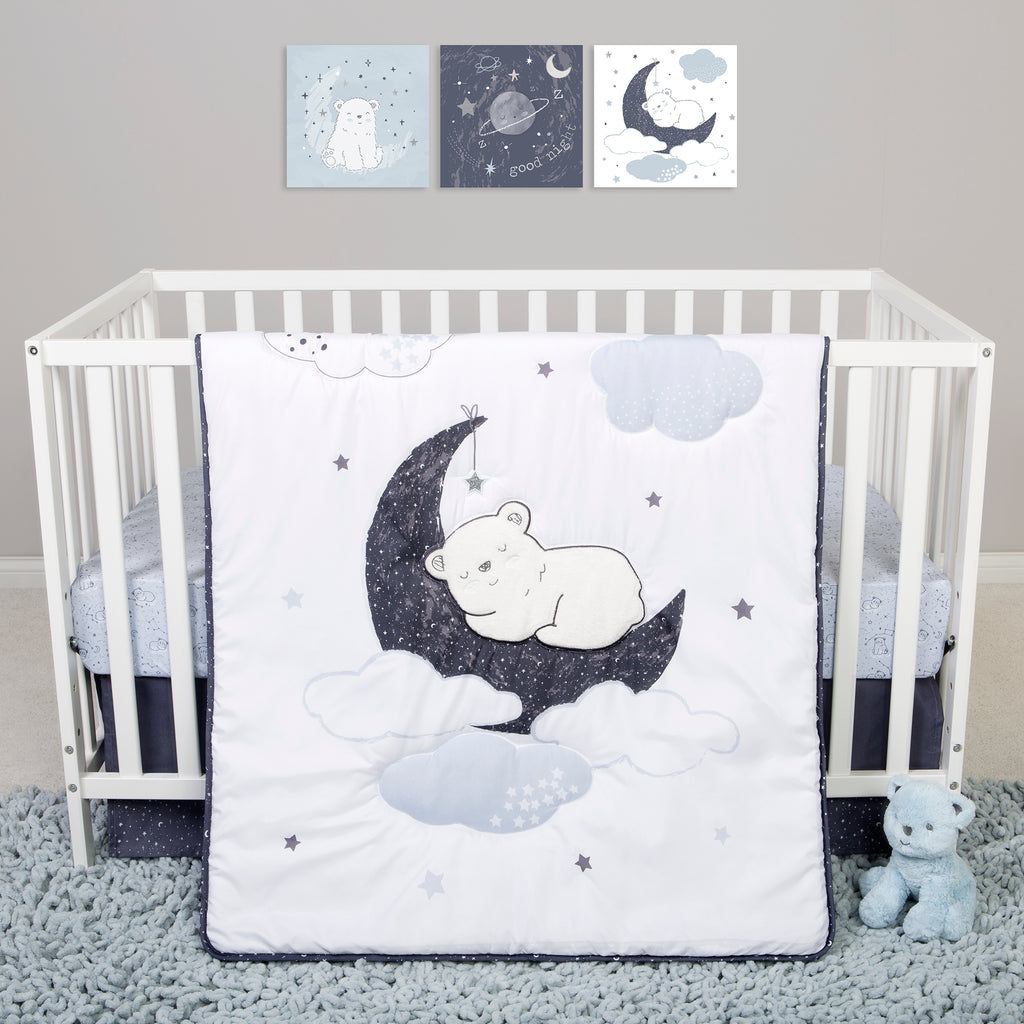 Sammy and Lou Bearly Dreaming 4 Piece Crib Bedding Set