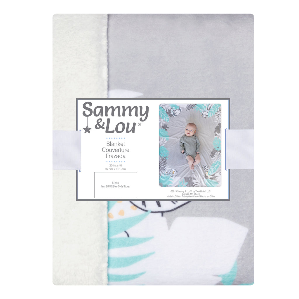 Safari Yearbook Minky and Faux Shearling Baby Blanket