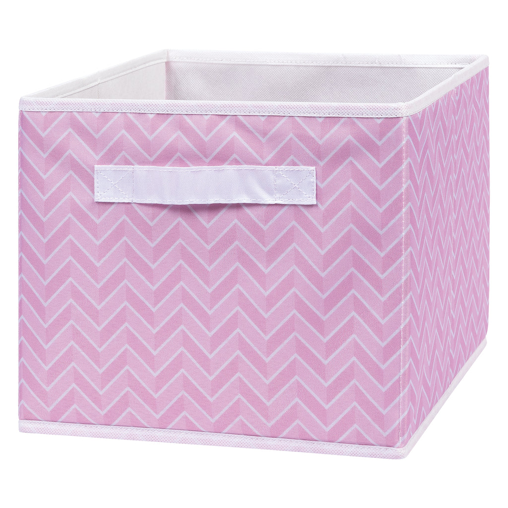 Pink Herringbone Canvas Storage Bin Trend Lab, LLC