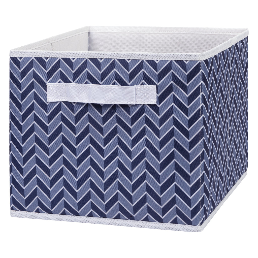Blue Herringbone Canvas Storage Bin Trend Lab, LLC