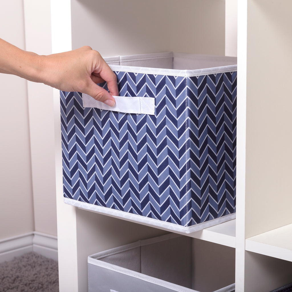 Blue Herringbone Canvas Storage Bin