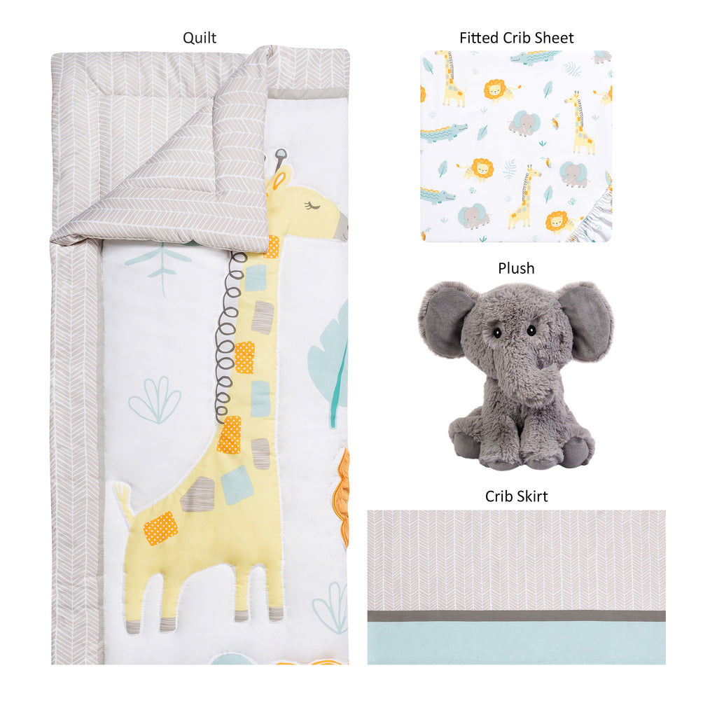 Sammy and Lou Jungle Pals 4 Piece Crib Bedding Set