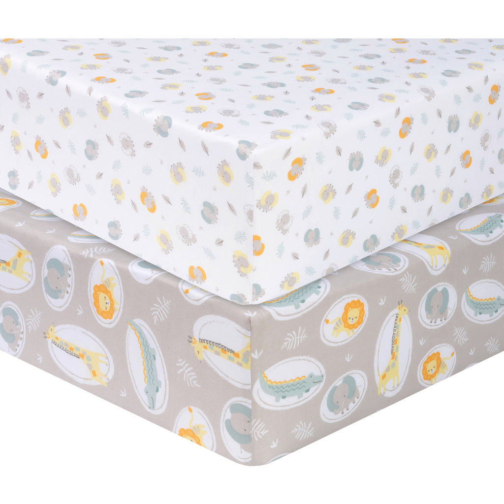 Jungle Pals 2- Pack Microfiber Fitted Crib Sheet Set by Sammy and Lou