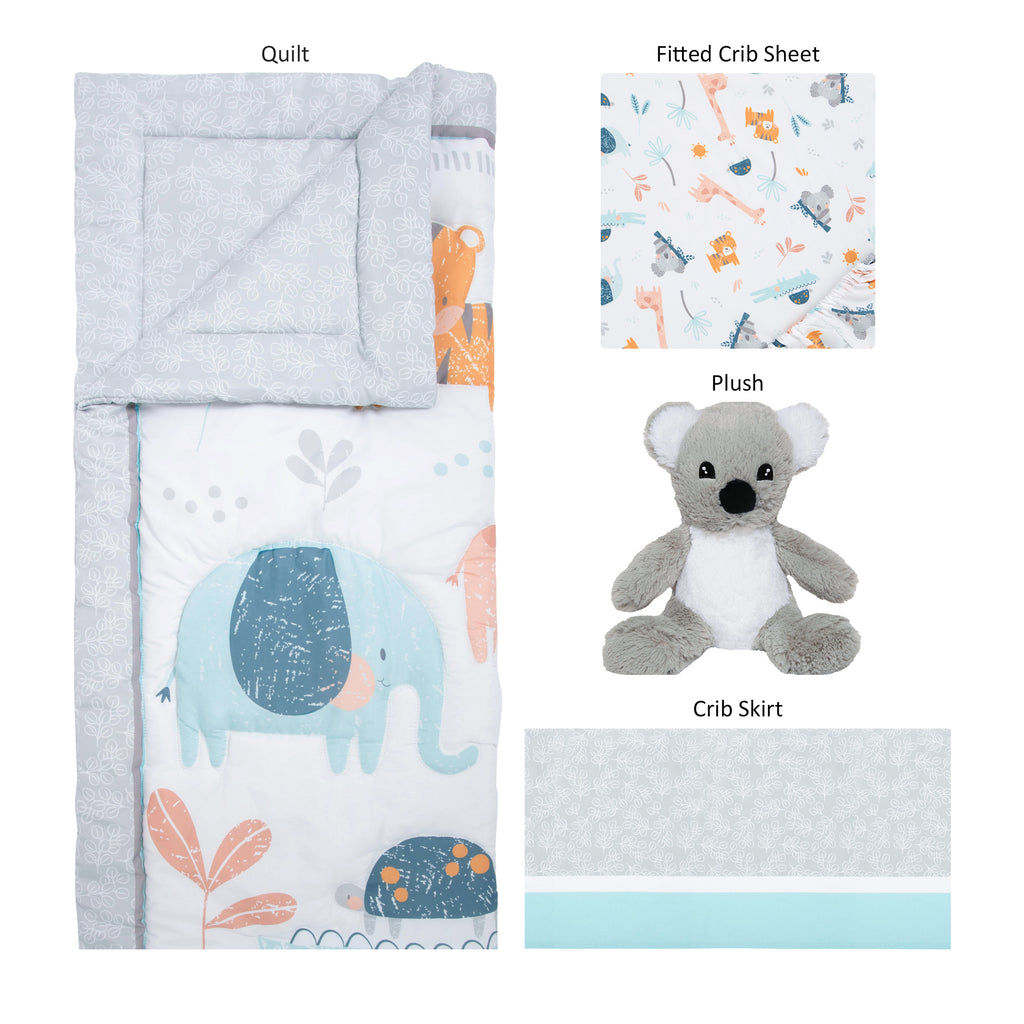 Koala and Friends Quilt, Fitted Crib Sheet, Plush, Crib Skirt