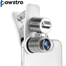 Load image into Gallery viewer, POWSTRO 3-LED 60X Optical Zoom Phone Microscope Lens Magnifier with Clip Phone Lens Stamp Magnifier Phone Clip Microscope Lens