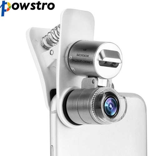 POWSTRO 3-LED 60X Optical Zoom Phone Microscope Lens Magnifier with Clip Phone Lens Stamp Magnifier Phone Clip Microscope Lens