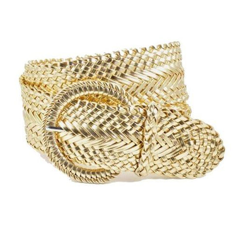 Woven Braid Genuine Leather Belt