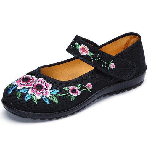 Embroidery Big Flower National Wind Hook Loop Flat Shoes