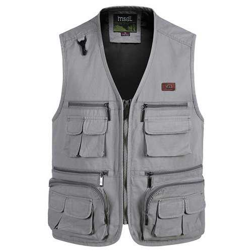 Outdoor Fishing Pure Cotton Multi Pockets Photographic Multi Functions Vest Waistcoats for Men