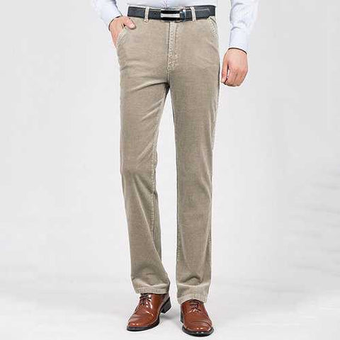 Mens Thick Warm Corduroy Casual Business Straight Pants