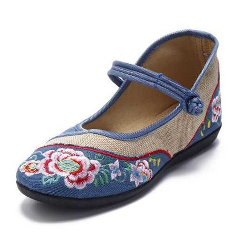 Flower Embroidered Vintage Flat Soft Buckle Shoes