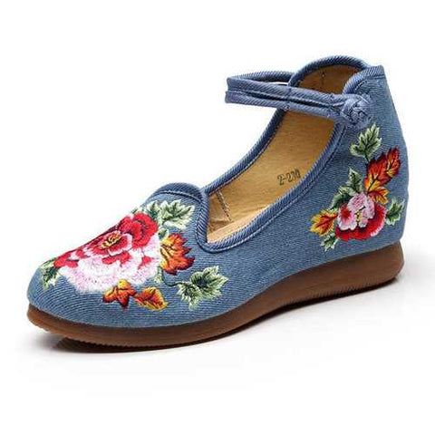Embroidered Hidden Heel Folkways Shoes