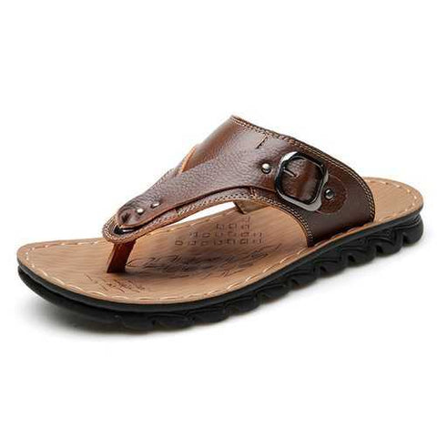 Men Genuine Leather Beach Slippers