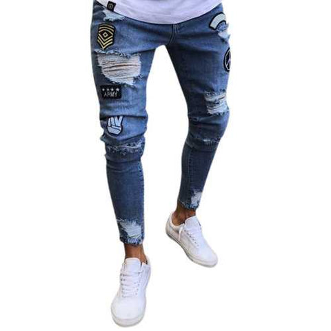 Stylish Ripped Washed Slim Designer Jeans