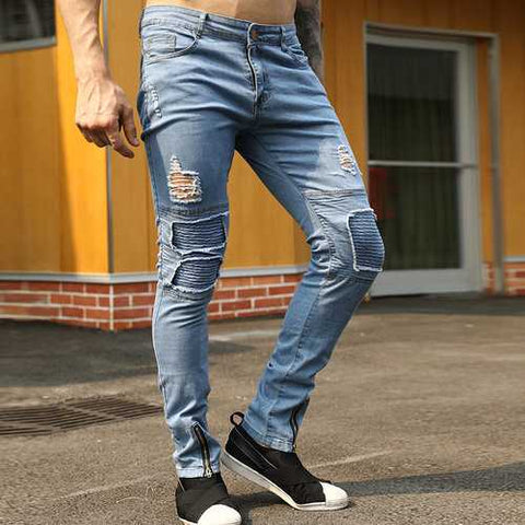 Stylish Skinny Zipper Trousers Holes Jeans