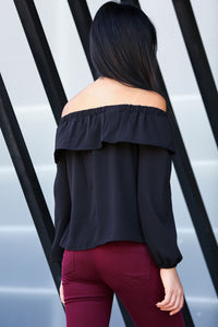 Crew Neck Black Blouse